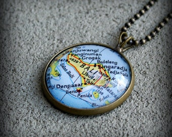 Bali Map Necklace