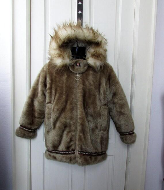 SALE Faux Fur Down Coat Hansa Branta Stearns Goose Eskimo