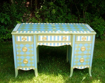 SOLD Angela's Hand Painted Desk with Fleur-de-les