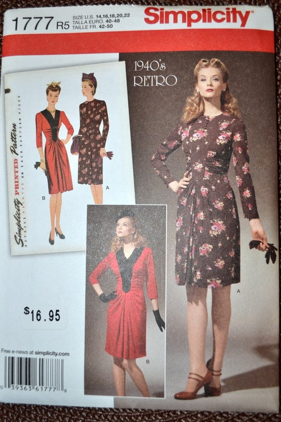 Sewing Pattern Simplicity 1777 Misses Dress 1943 design  Uncut Complete