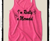 I'm really a MERMAID ... bubbles Girls Ladies Heathered Tank Top Shirt silkscreen screenprint Alternative Apparel