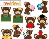 Clipart Teddy Bear Classroom, digital images, back to school digital clip art