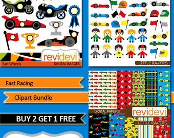 Race cars clipart sale bundle / commercial use clip art, digital papers - Racing cars, racer, motorcycle clip art digitals, instant download