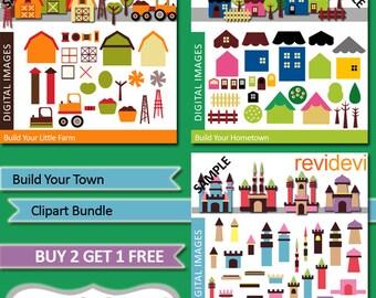 DIY build your houses, castles, farm - Clipart Bundle - Build Your Town - Commercial use digital clip art