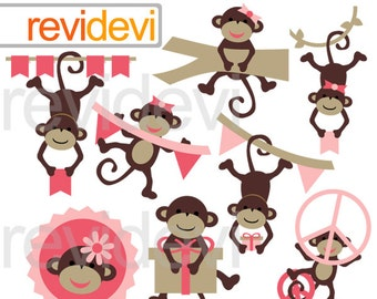 Happy Hanging Monkeys Cliparts 07543.. Instant download