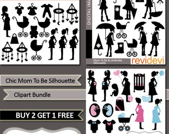 Chic Mom To Be Silhouette Clipart Bundled MGB070, pregnant woman clip art, baby shower, umbrella
