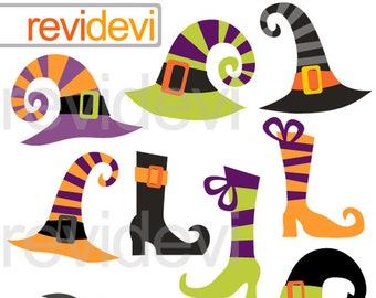 Clipart Halloween Witches Hats and Boots / cute halloween clip art / digital images