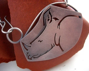 Rhino Necklace. Sterling silver and hand-cut.
