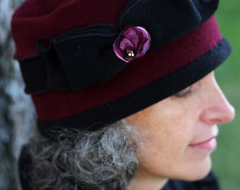 Pillbox Polar Fleece Hat - Warm Ladies Winter Hat - Burgundy and Black- Kathy