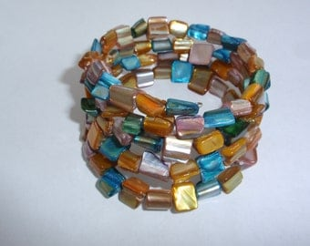 Rainbow mother of pearl bead memory wire bracelet