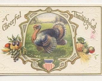 patriot thanksgiving postcard unused