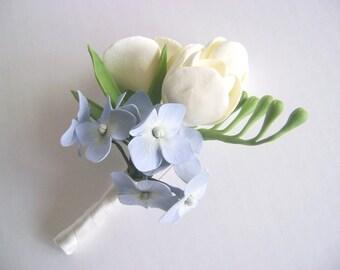 Ivory Freesia and Blue Hydrangea Wedding Boutonniere. Wedding Groomsman/Bestman Flower