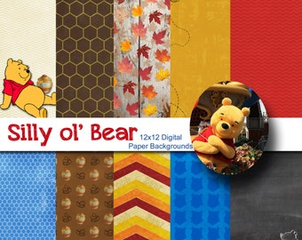 Disney Winnie the Pooh Inspired 12x12 Digital Paper Backgrounds for Digital Scrapbooking, Party Supplies, etc -INSTANT DOWNLOAD -