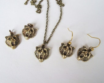 Lion Brass Charms, Necklace, or Earrings, Your Choice, Silver ox OR Brass ox plate, USA Brass Metal, Jewelry Supplies Or Completed Jewelry