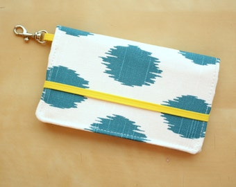 Ikat iPhone Wallet - Cell Phone Wallet - Blue and Yellow Ikat Polka Dot Print - Smart Phone Case