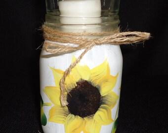Painted jar, SUNFLOWER jar, hand painted jar, glass jar, sunflower centerpiece, wedding centerpiece, rustic centerpiece,