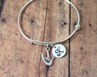 ASL 'I love you' charm bracelet - I love you bracelet, sign language bracelet, ASL bracelet, sign language bangle, ILY bracelet