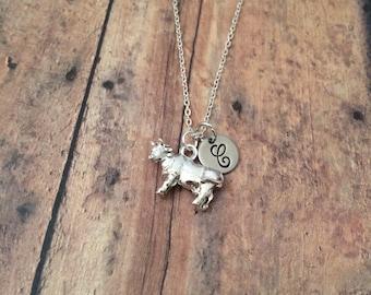 Cow initial necklace - cow jewelry, farm necklace, dairy cow necklace, farm jewelry, state fair necklace, show animal jewelry, ranch jewelry