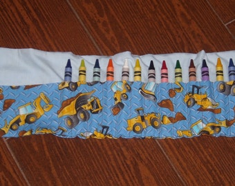 Construction vehicles crayon roll