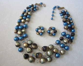 Vintage Bead Necklace and Earrings set