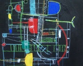 Original Abstract Painting. Reds. Black. Green. Blue. Yellow. Abstract Modern Art. Playin in Asnieres  by Jenny Davis. - Outlook8studio