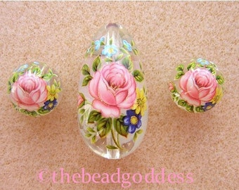 New Lovely JAPANESE TENSHA Beads Pink Rose Clear Drop SET