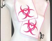 LAST CHANCE CLOSEOUT Sweet Neon Pink Biohazard Heart Fleece Scarf MTCoffinz - Ready to Ship