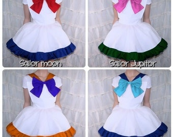 Sailor Moon Pinafore Bow Apron Costume Skirt Adult ALL Sizes - MTCoffinz - Chose color