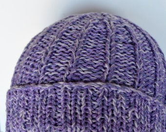 Hand Knit Hat - Hallgrímur - Hand Knit Hat in Lilac, Orchid, Lavender Purple - Radiant Orchid - Vegan Friendly, All Cotton, Natural Knits