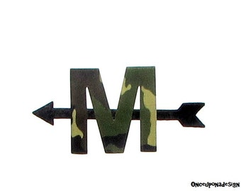 Camouflage Letter And  Arrow... Fabric Iron On Appliques