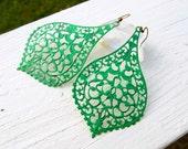 Jade green earrings Gypsy earrings Big Earrings Boho jewelry Filigree drop earrings Bohemian jewelry