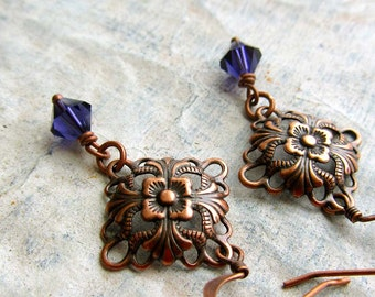 Copper earrings small earrings purple dangle earrings Art Nouveau copper jewelry