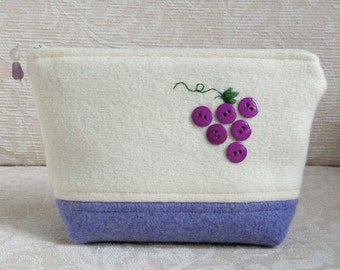 Purple Grapes Zip Pouch, Eco Friendly Upcycled Sweater Wool Clutch