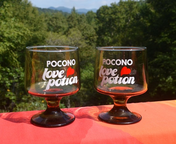 70s Vintage Glasses Set Of 2 POCONO LOVE POTION Wine Goblets