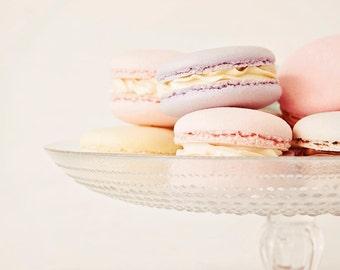 Pastel macaron photograph, kitchen decor, pink, purple, cream, food photography, shabby chic decor, kitchen wall art- Pretty Pastel Macarons