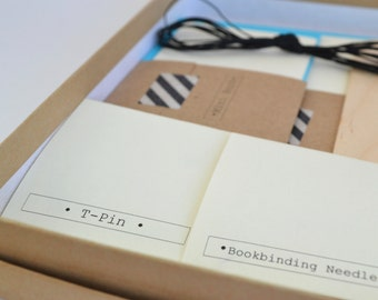 Easy Fun Bookbinding Kit, Make 2 Basic Soft Cover Notebooks plus 1 Mini Book, DIY Blue & Black