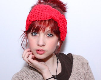 LAST ONE Headband summer chunky knot turban vegan cotton Huge Bow cherry red