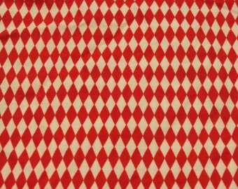 Vintage Red and White Diamond Print Cotton - 1 5/8 Yards