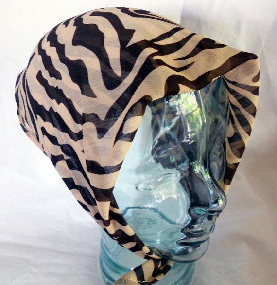 Silk Georgette Head Scarf - Rockabilly Retro Neck Tie Accessories - Brown and Tan Zebra Print