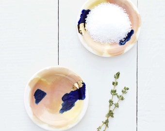 Bryce Peach, Navy, 14k Gold Porcelain Set of 4 Small Dipping Plates // From Canyon Series // Modern, Organic Home Goods
