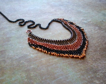 Ethnic Fringe Multicolor Necklace|Bohemian Statement Necklace|Bib Necklace|Side Close|Mixed Metal Chains|Tribal Necklace|Trending Jewelry