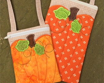 In the Hoop Pumpkin Purses Set Machine Embroidery Design Files Instant Download