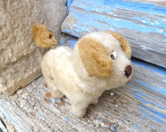 Vintage Antique 1930/1940 French plush dog/ windup toy to restaure