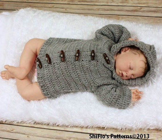 CROCHET PATTERN  For Baby Unisex Hooded Ribbed Edged Jacket in 5 Sizes PDF 206 Digital Download