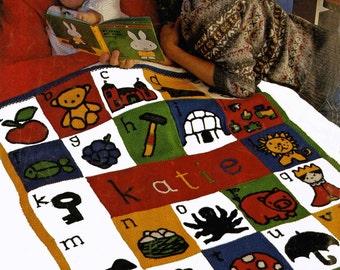 Vintage Alphabet Coverlet, Knitting Pattern, 1960 (PDF) Pattern, Family Circle 1