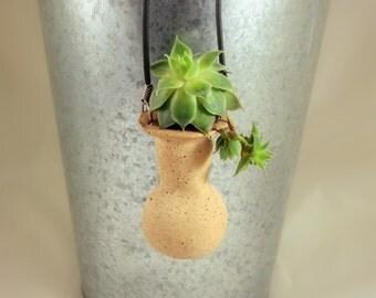 Custom - Hand Molded Pottery Wearable Planter Vase Pendant on Cord - For Live Living Plants - Vase
