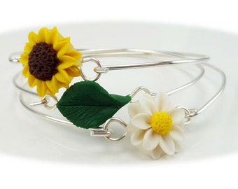 Three Stackable Sunflower Daisy Leaf Flower Bangle Bracelets