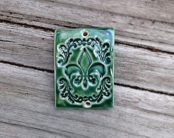 Green Ceramic Fleur de Lis Bracelet Topper