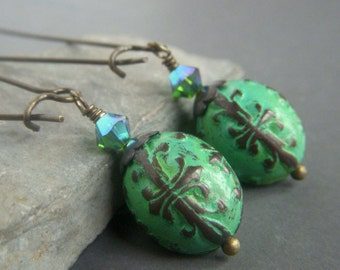 Patina Brass Filigree Earrings Brass, Teal Hand Patinaed Raw Brass Shabby Cottage Chic Dangle, Vintage Boho Dangle