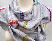 White with Gray and Color Handwoven Scarf DBJ22
